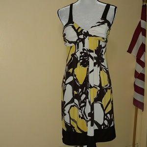 Yellow & brown flowere dress by Bisou Bisou siz 16